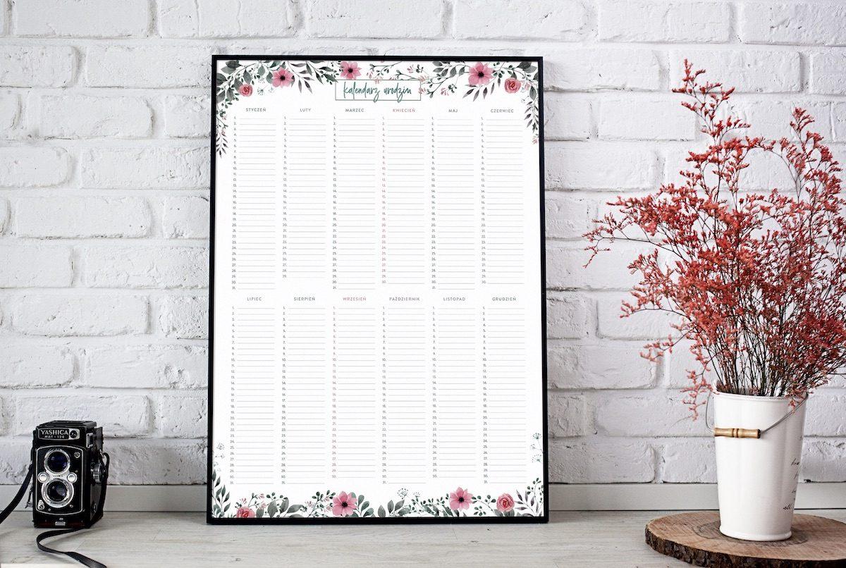 kalendarz urodzin duży