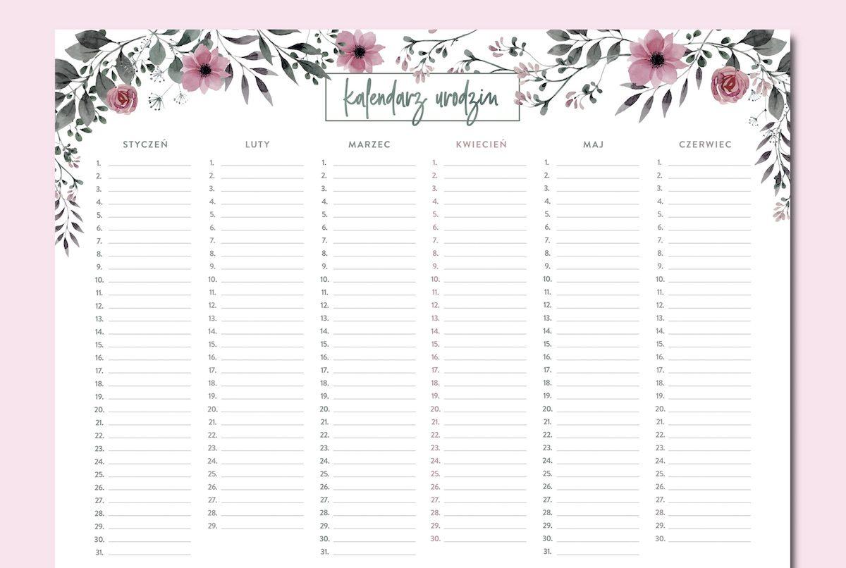kalendarz urodzin kwiaty