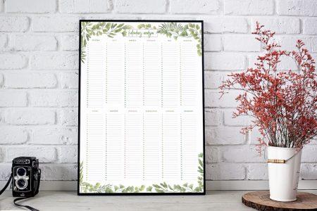 kalendarz urodzin liście
