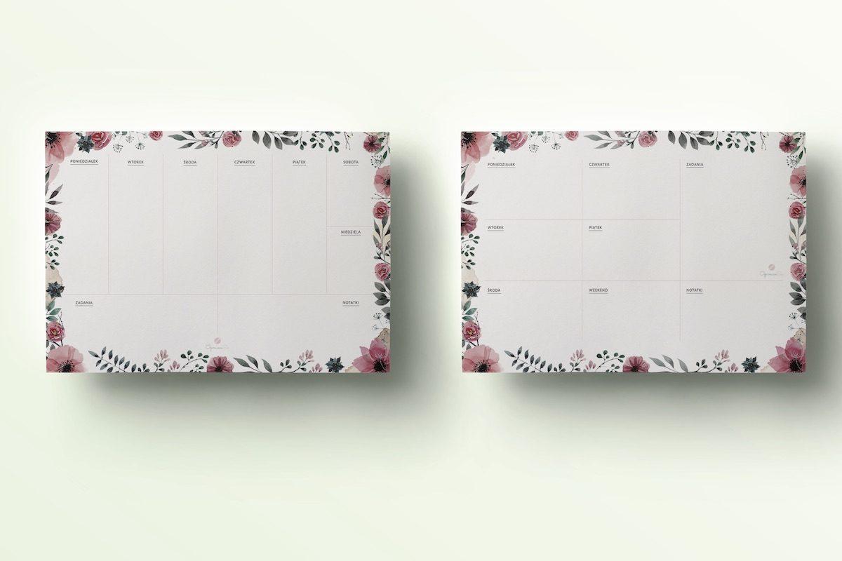 planery tygodniowe kwiaty do druku vintage