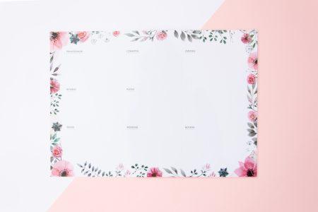 planer tygodniowy suchościeralny kwiaty