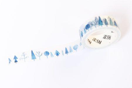 washi tape niebieski lasek