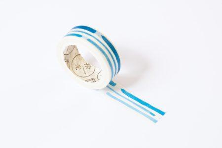 washi tape niebieskie paski