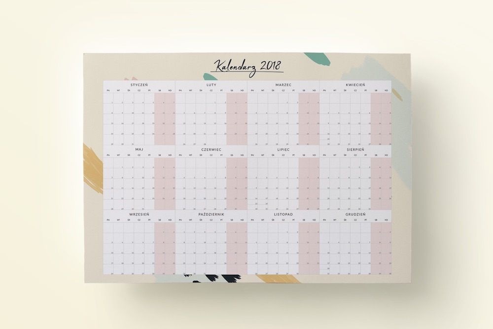 Planer, kalendarz 2018 ścienny