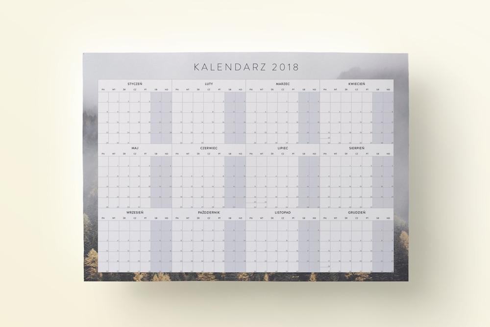 """Planer Kalendarz do druku 2018 """"Jesienne drzewa"""""""
