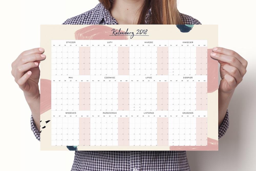 """Planer kalendarz ścienny """"Różowa abstrakcja"""""""