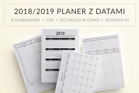 Wkłady do organizera z datami do druku 2018 2019