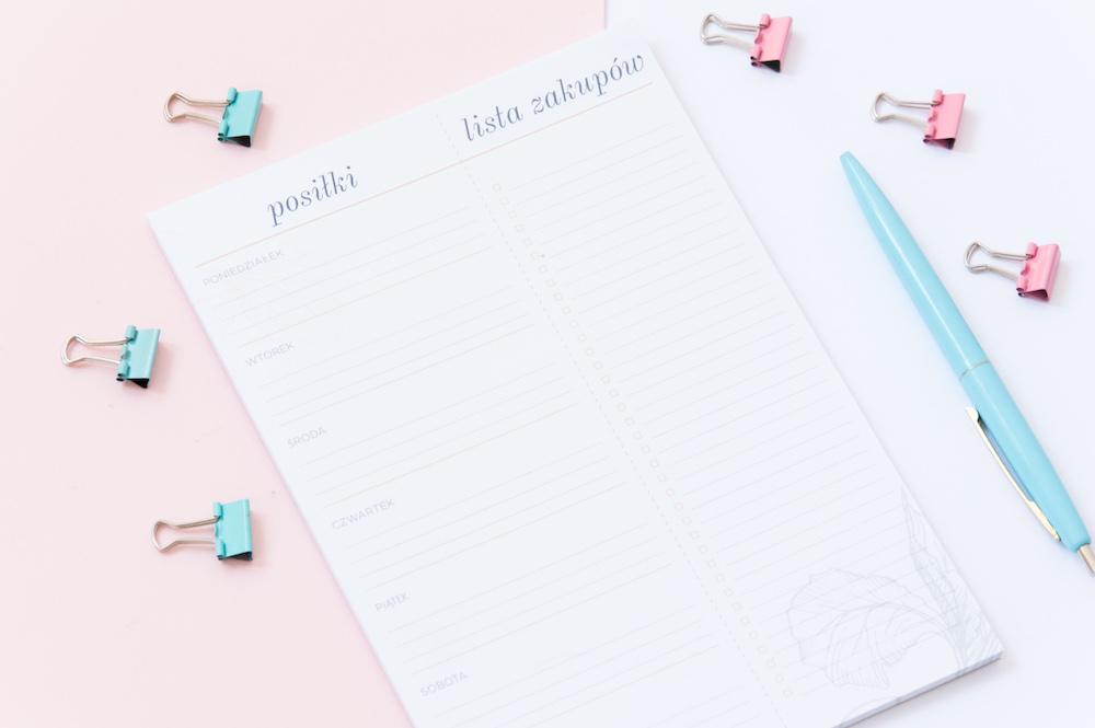 planer posiłków lista zakupów na tydzień notes