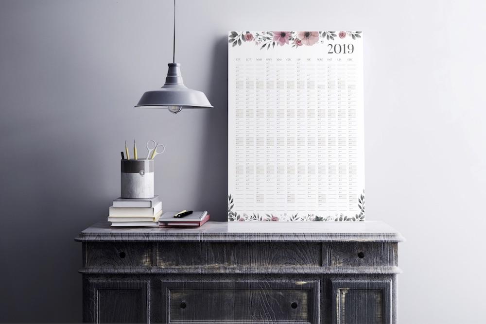planer kalendarz ścienny 2019