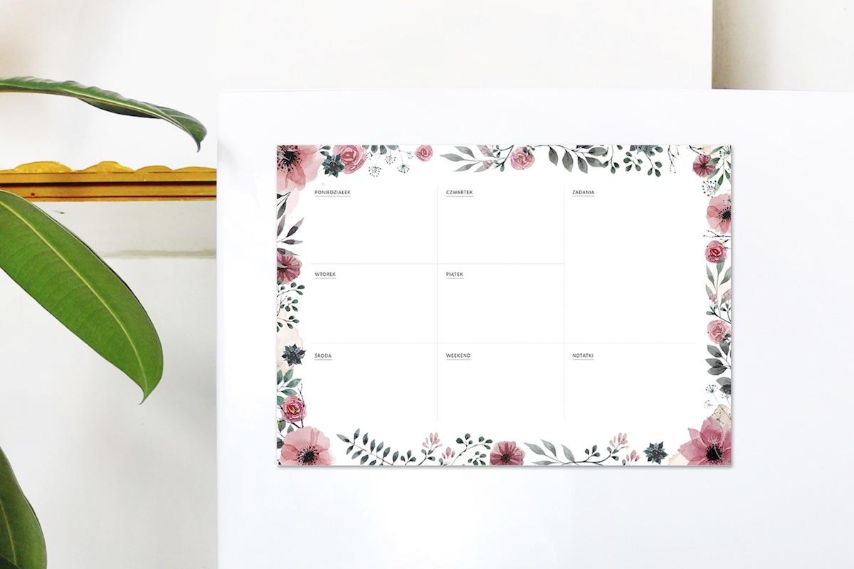 planer tygodniowy na lodówkę magnetyczny kwiaty