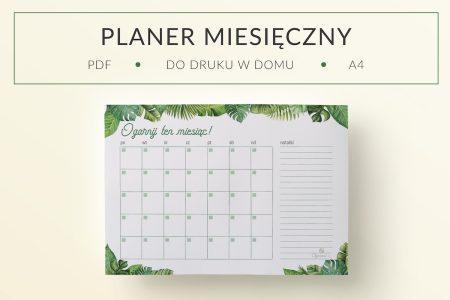 OgarniamSie PlanerMiesieczny Tropikalny 1 main 450x300 - Tropikalny plan miesiąca do druku | Format: A4