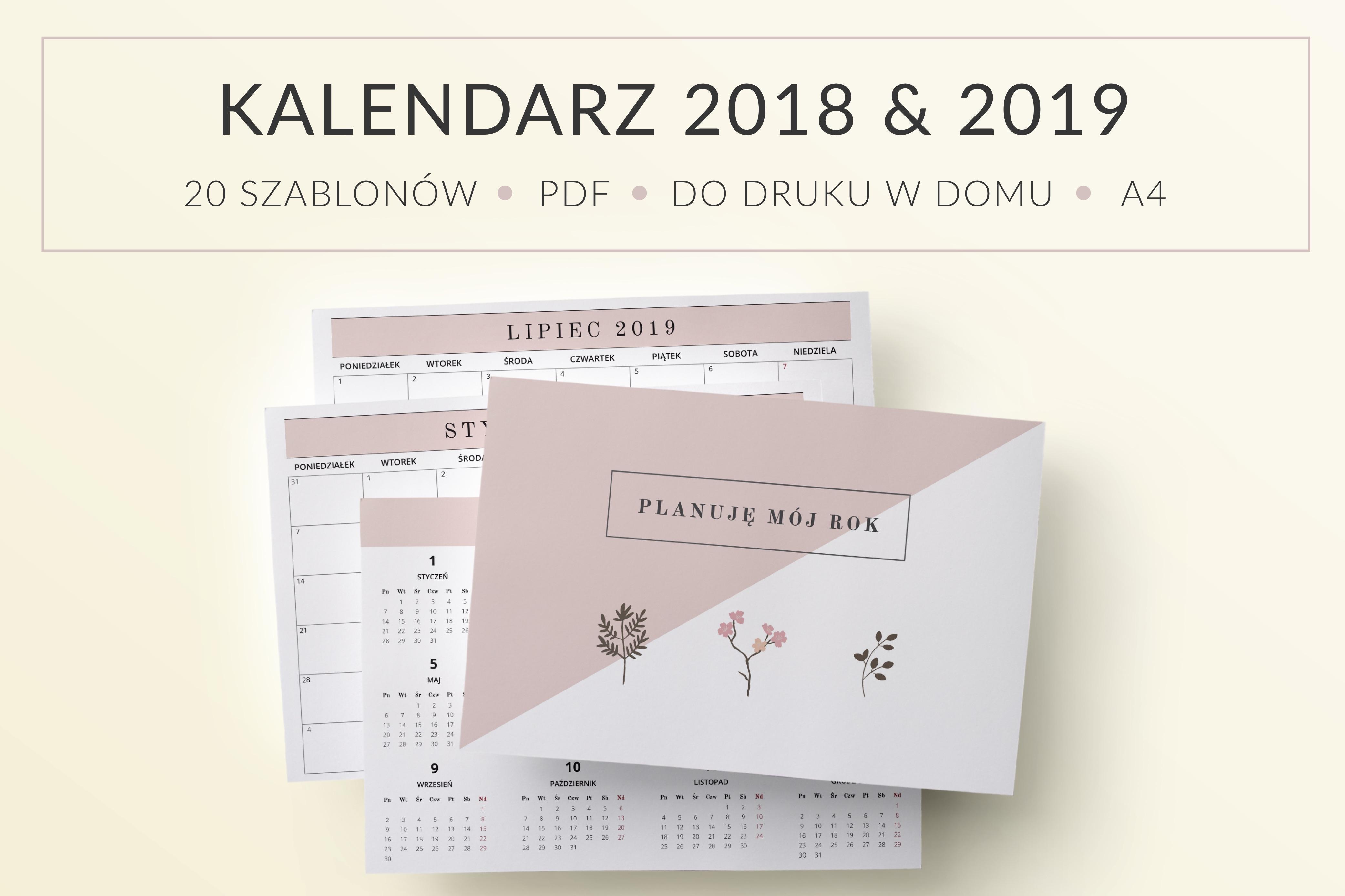 Kalendarz Planer Planuję Mój Rok Do Druku 20182019