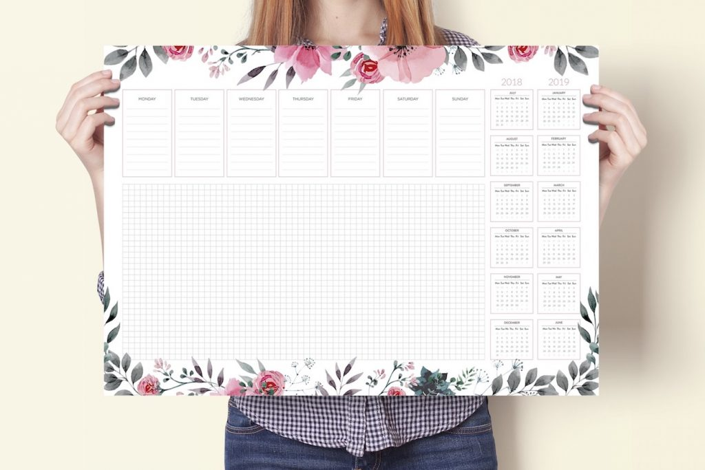 podkładka na biurko biuwar kalendarz 2018 2019 kwiaty