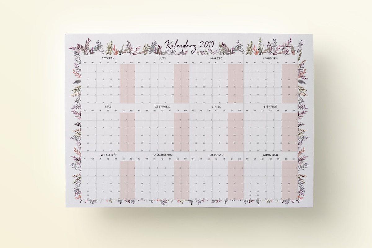 plakat kalendarz 2019 boho