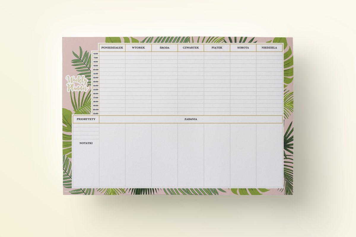OgarniamSie - Planer Tygodniowy Liście Tropikalne