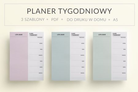 "PL main 1 450x300 - Planer tygodniowy ""Minimal Pastel"" do druku | Format A5"