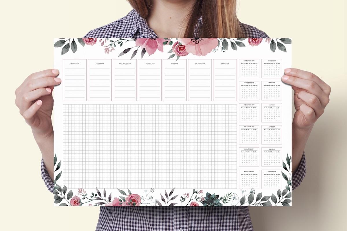 podkładka na biurko z kalendarzem 2018 2019