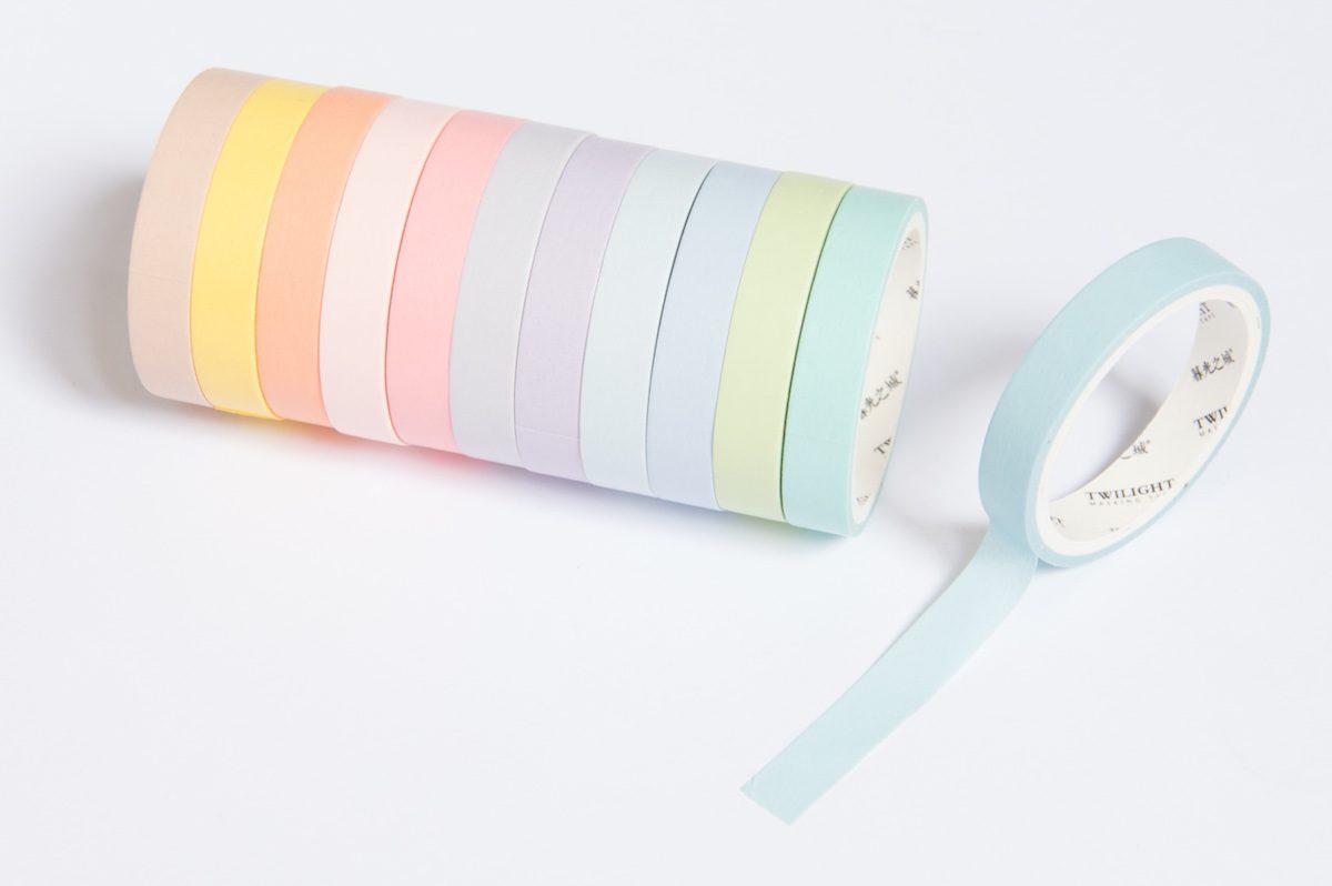 Taśma dekoracyjna - zestaw - 12 pastelowych kolorów