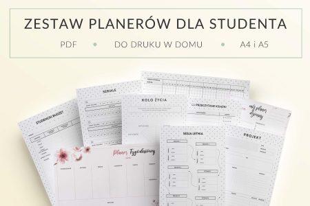 Zestaw planerów dla studenta, do druku - mockup