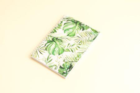 """okladka zielone tropiki 450x300 - Bullet Journal - zeszyt w kropki - """"Zielone tropiki"""""""