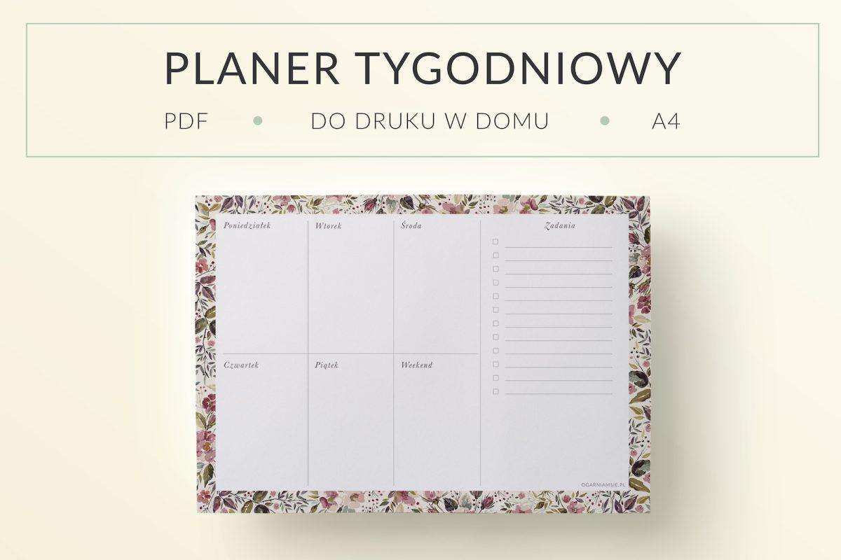 """OgarniamSie PlanerTYgodniowy PozeganianieLata 1 main 1200x800 - Planner tygodniowy """"Pożegnanie lata"""" do druku   Format A4"""