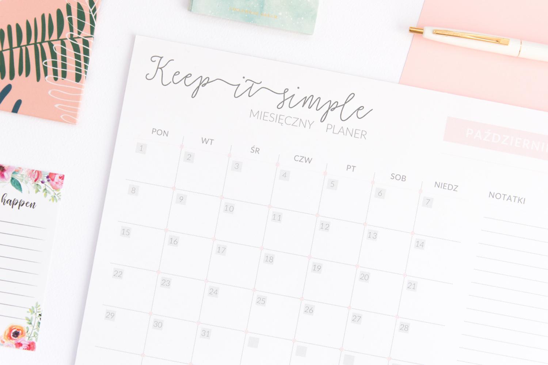 kalendarz miesięczny 2019 planer z odrywanymi kartkami