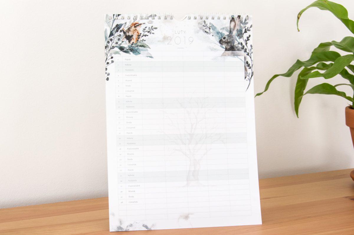 kalendarz rodzinny 2019 luty miejsce na członków rodziny