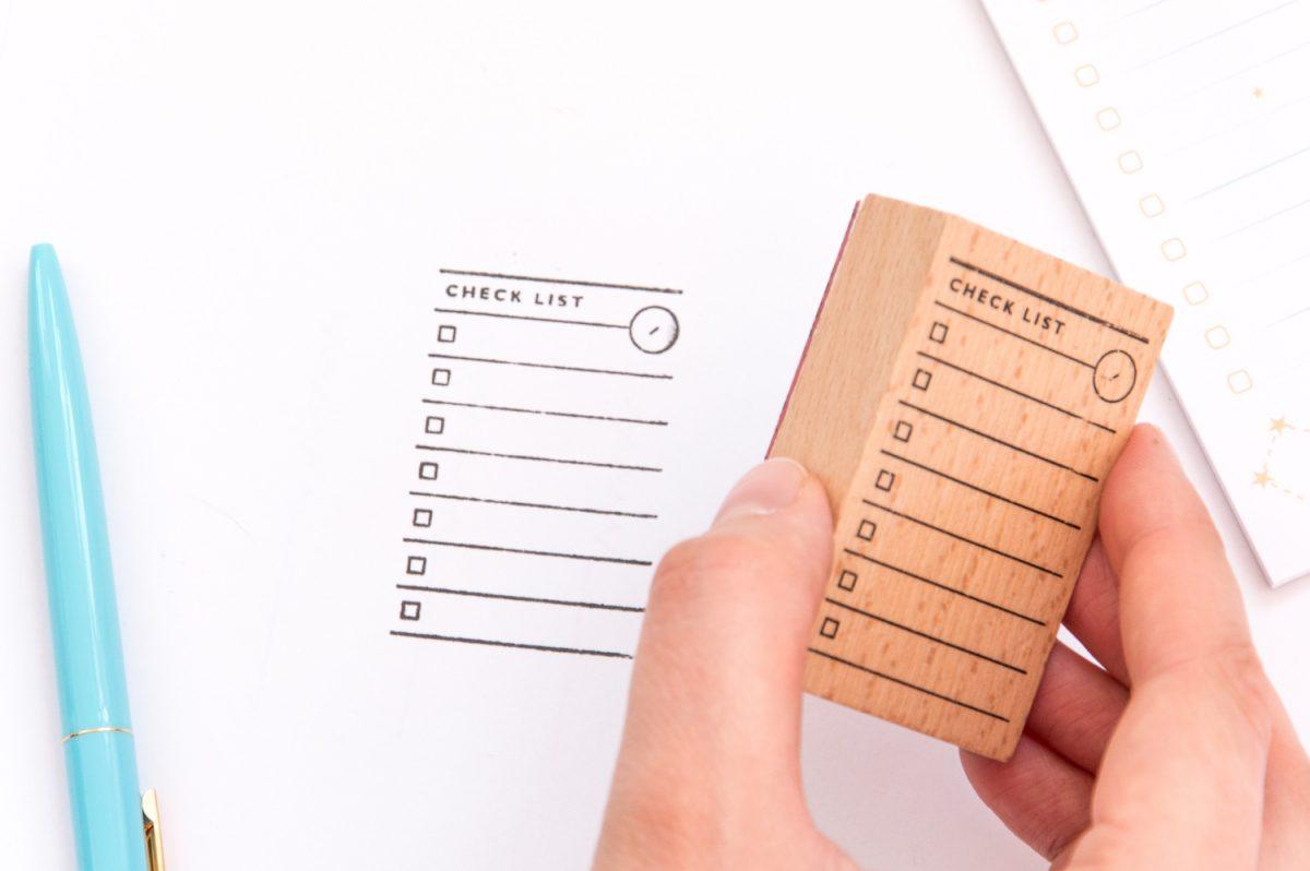"""pieczatka check list1 1200x798 - Lista zadań """"Check List"""" - drewniana pieczątka"""