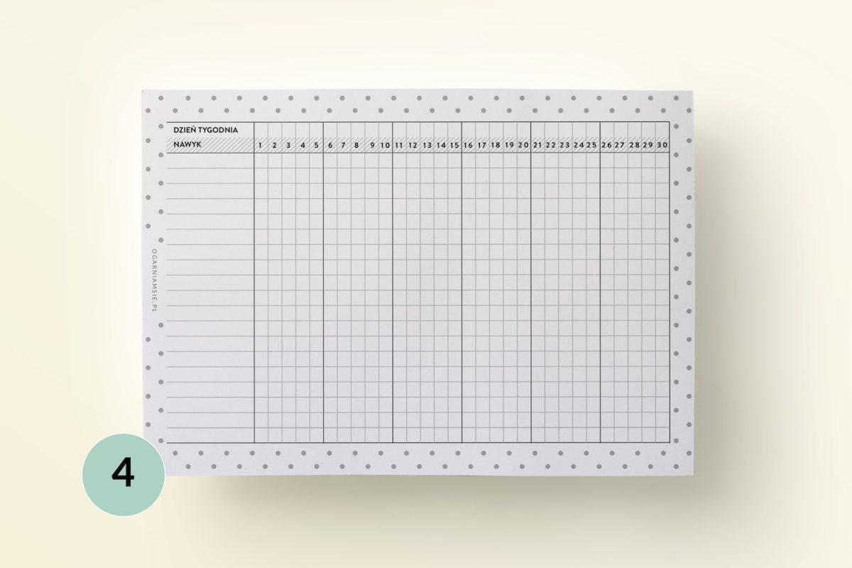 Habit tracker - dodatek do planera, wkład do organizera
