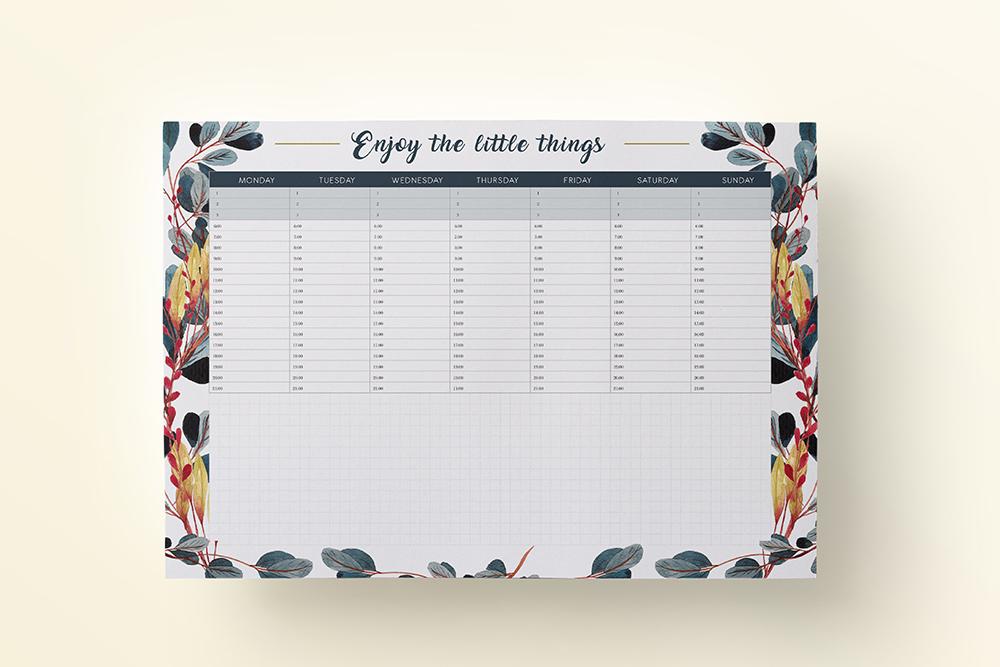 "OgarniamSie PlanerTygodniowyLeaves 1 - Planer tygodniowy ""Enjoy the little things"" do druku | Format A4"