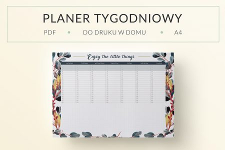 "OgarniamSie PlanerTygodniowyLeaves main 450x300 - Planer tygodniowy ""Enjoy the little things"" do druku 