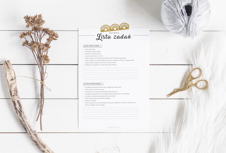 Organizer ślubny do wydrukowania – darmowa checklista