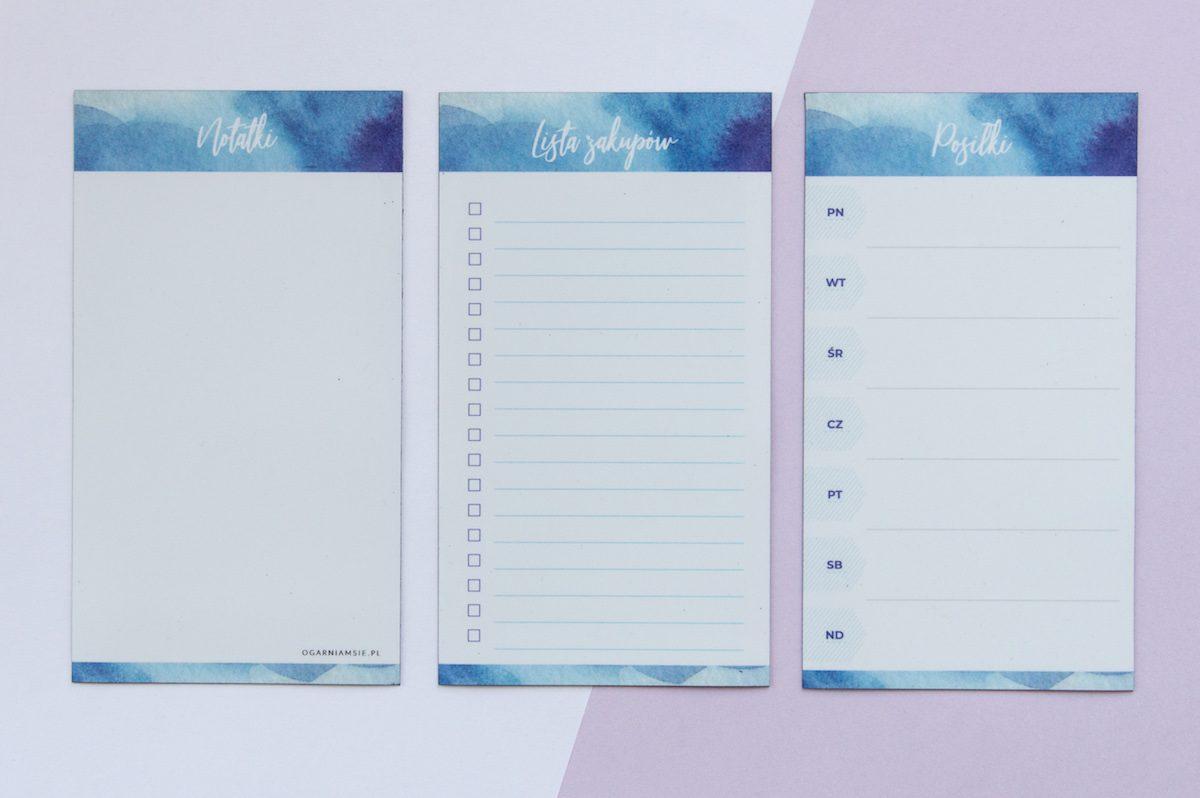 zestaw planerów na lodówkę niebieskie