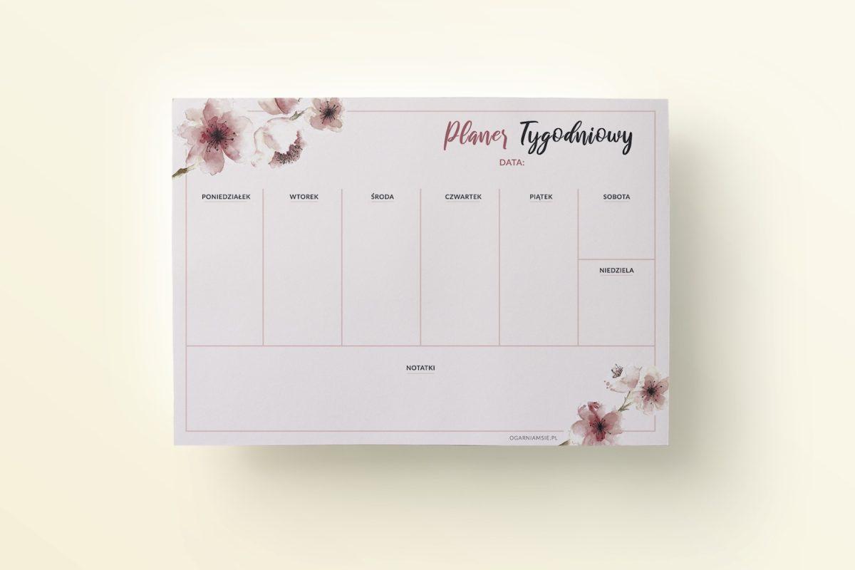 planer tygodniowy do druku magnolie