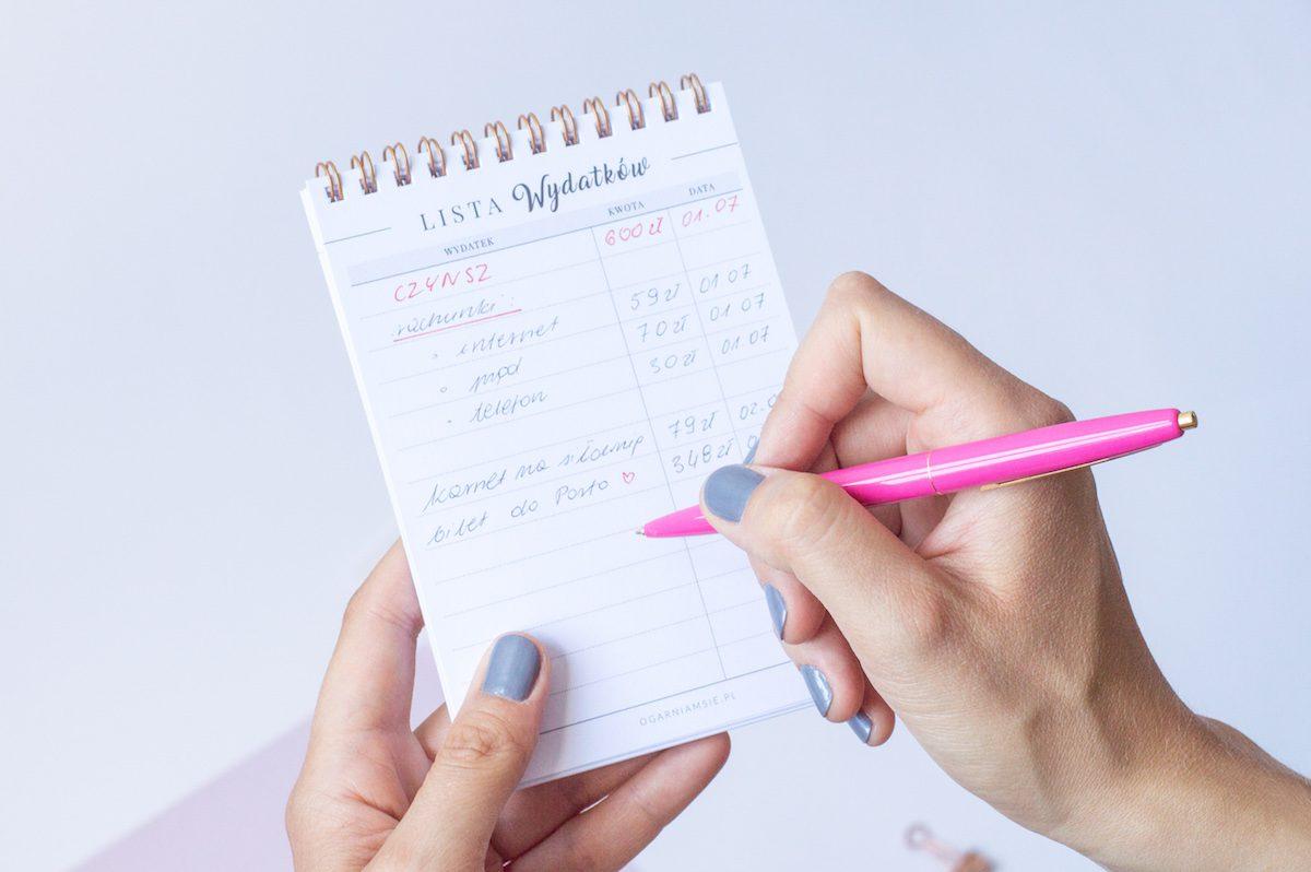 lista wydatków notes
