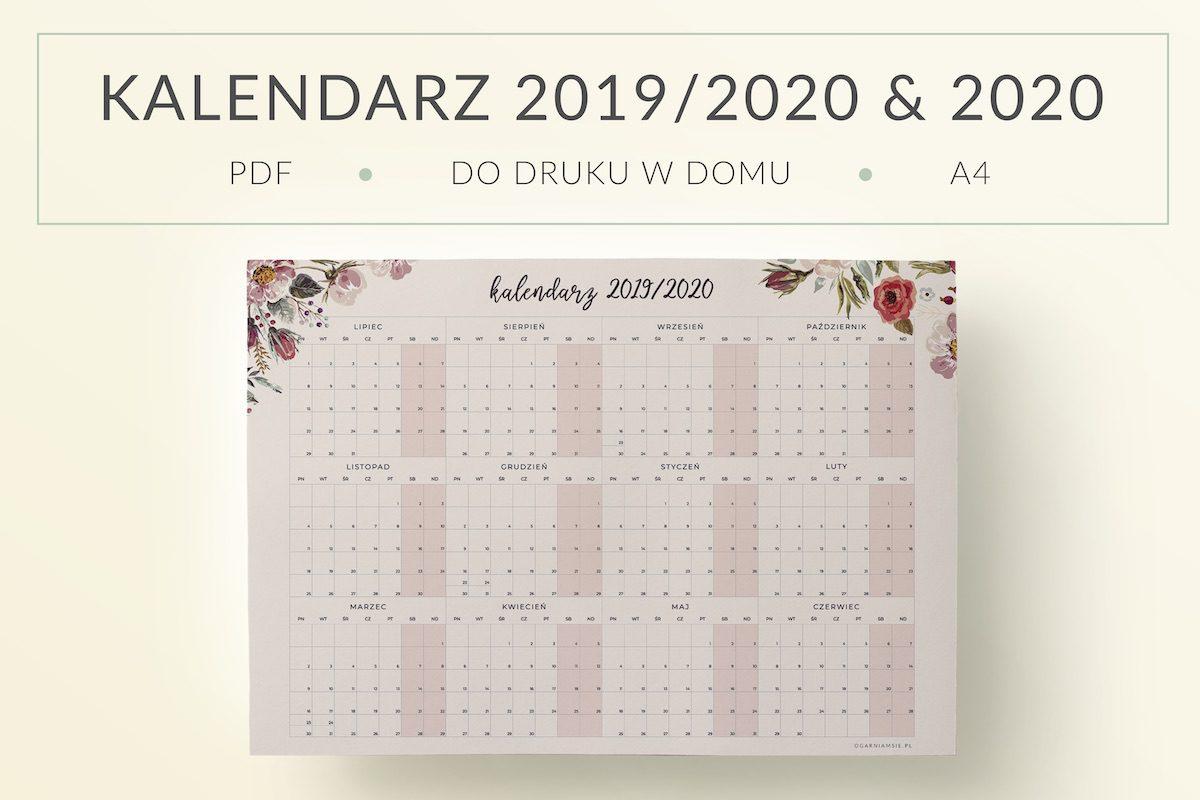 OgarniamSie Kalendarz 2019 2020 Kwiaty A4 do druku