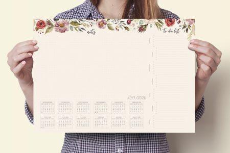 planer na biurko, biuwar a3 z kalendarzem 2019/2020