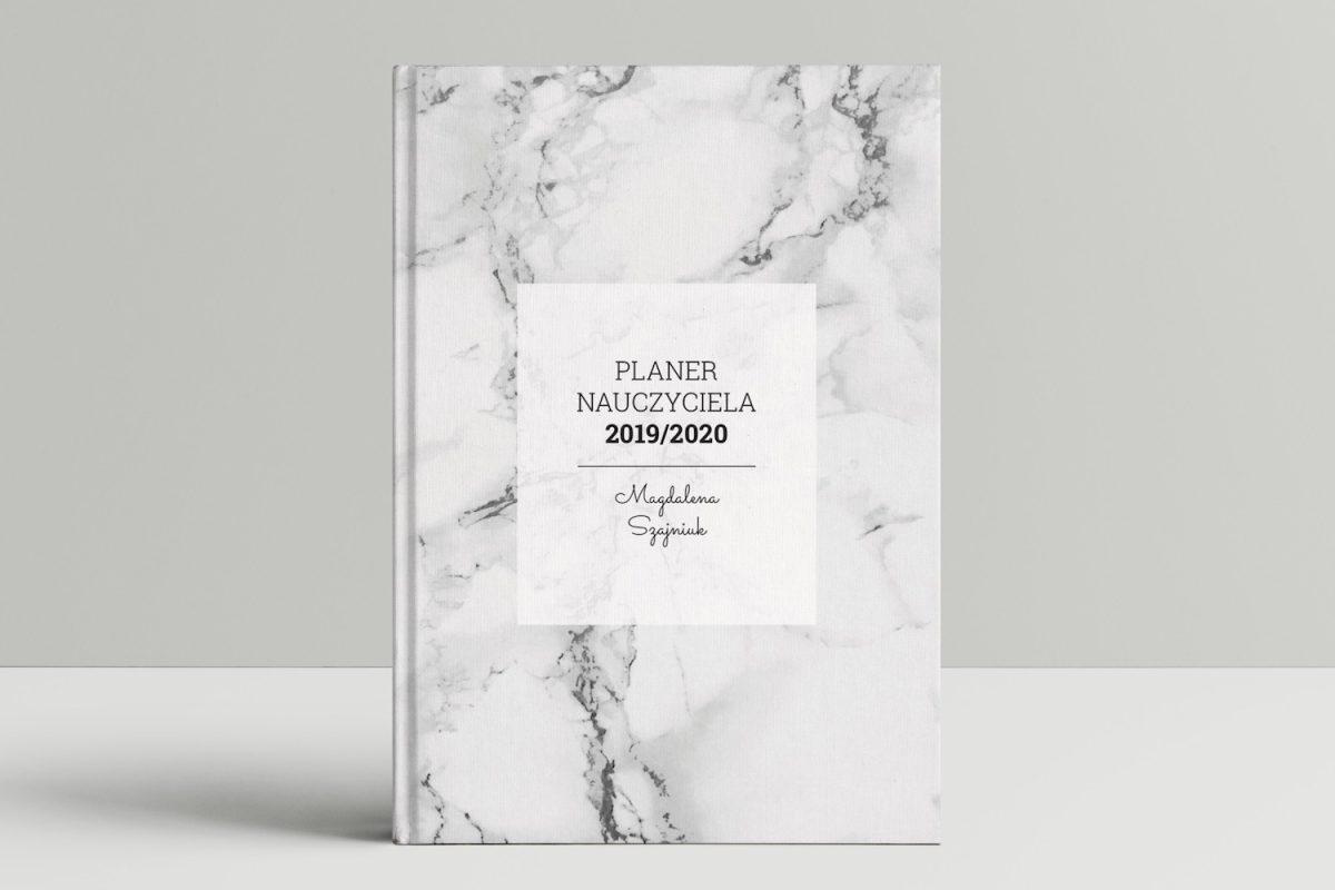 książkowy kalendarz nauczyciela okładka marmur mockup