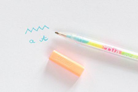 długopis żelowy tęczowy swatch