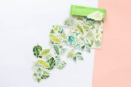 naklejki bullet journal liście tropikalne