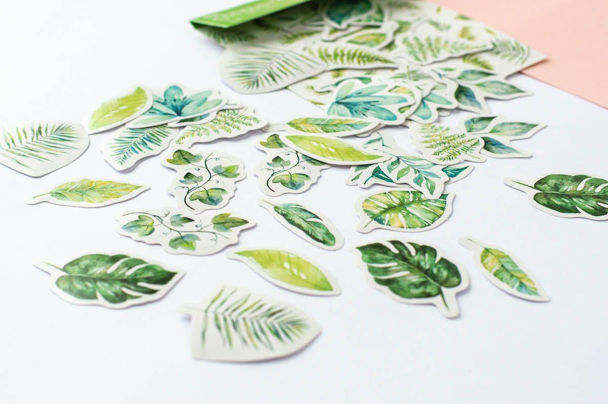 naklejki do planera liście tropikalne