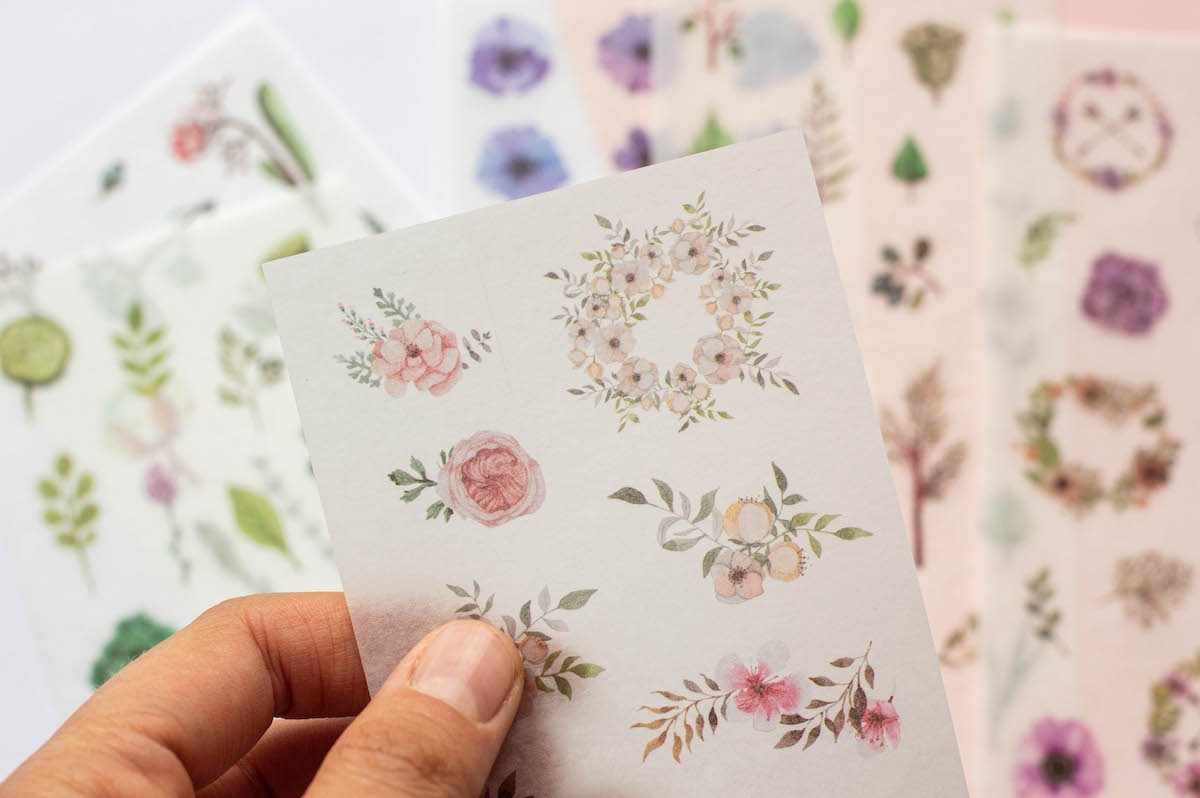 naklejki do bullet journal kwiaty zbliżenie