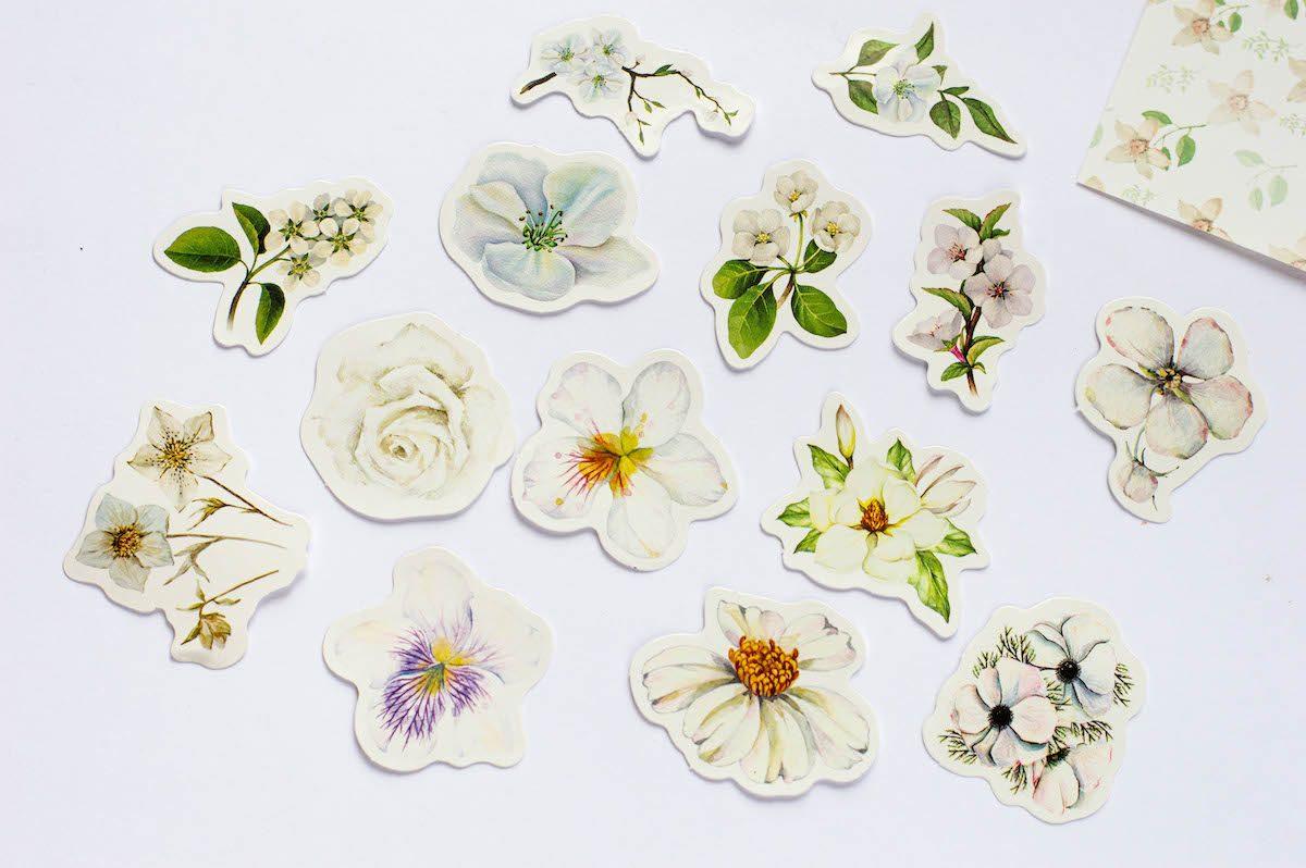 naklejki do planera kwiaty białe