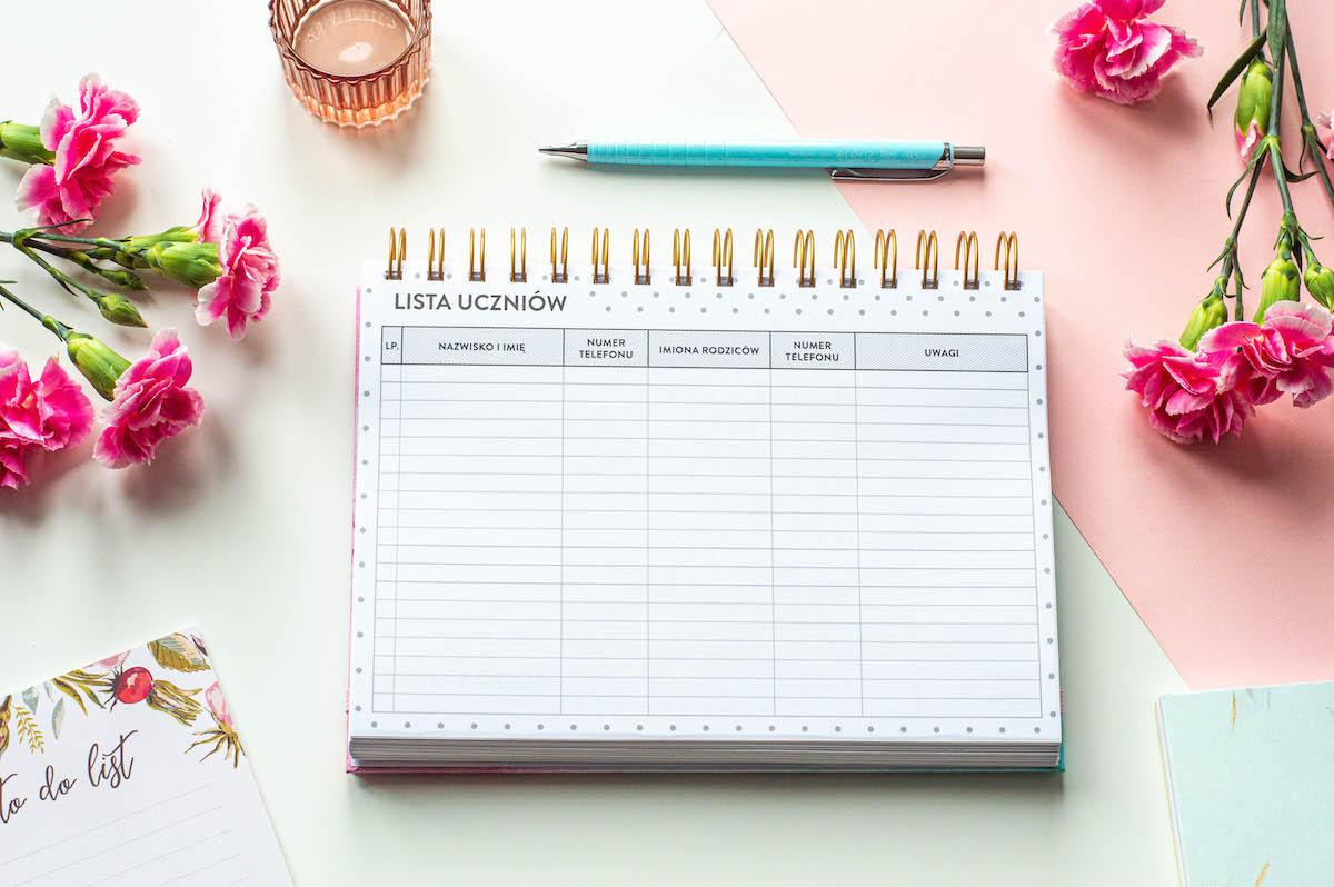 planer nauczyciela spirala środek lista uczniów