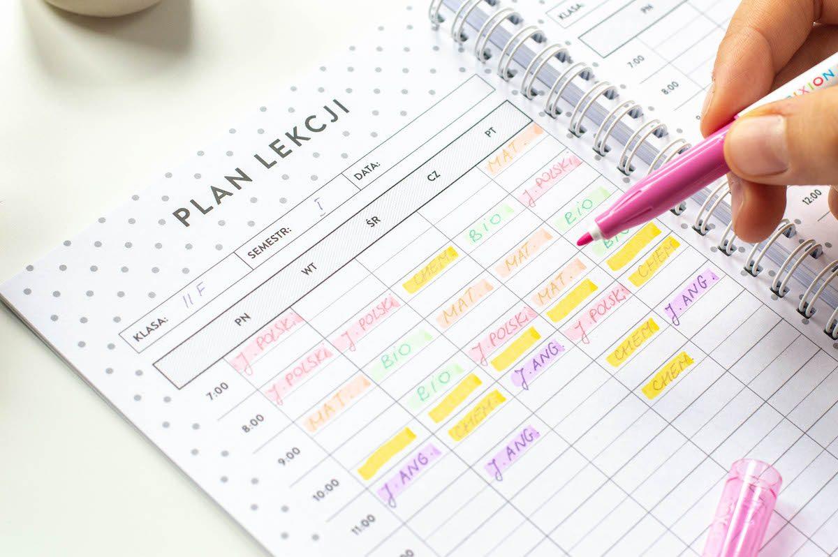 planer ucznia środek plan lekcji