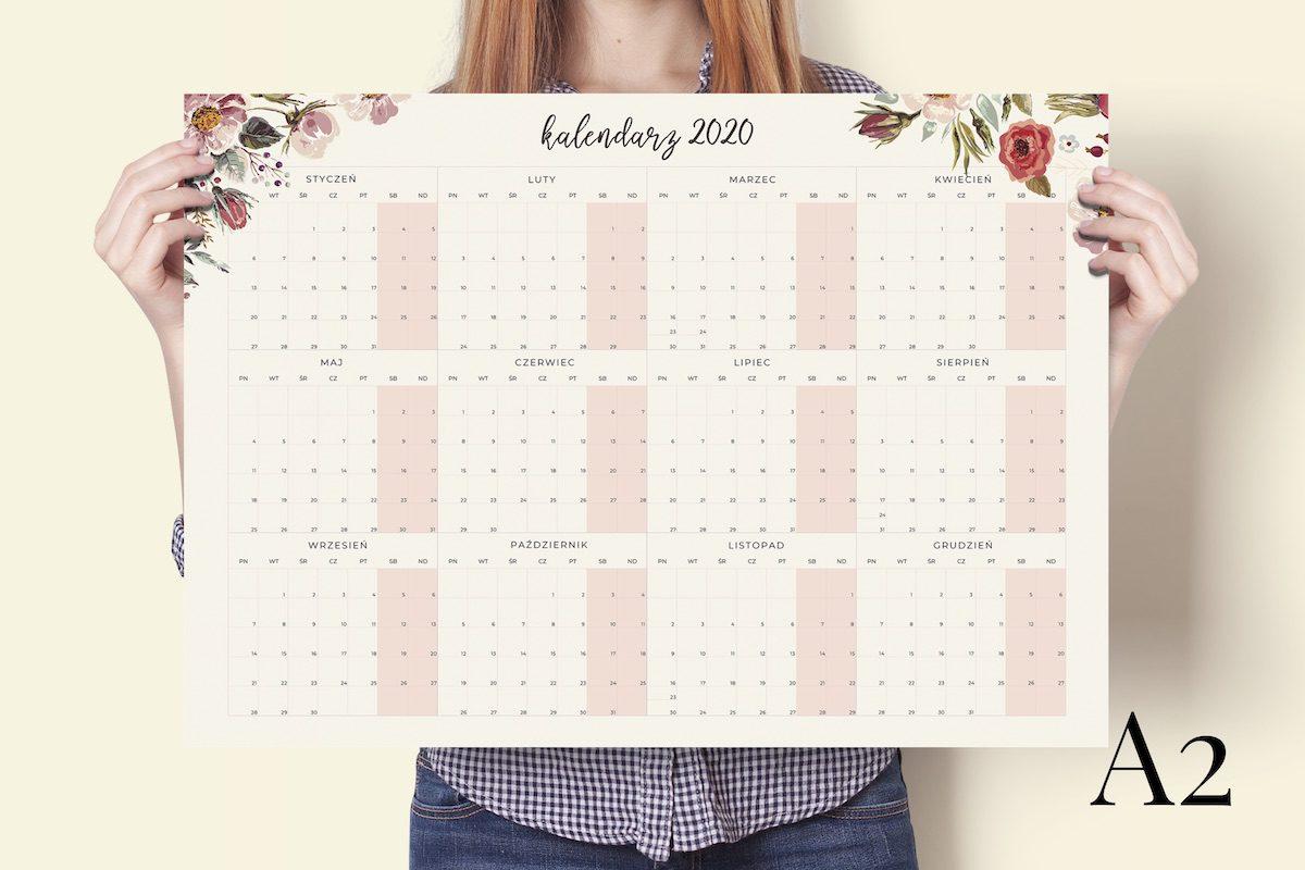 a2 floral 2020 kalendarz