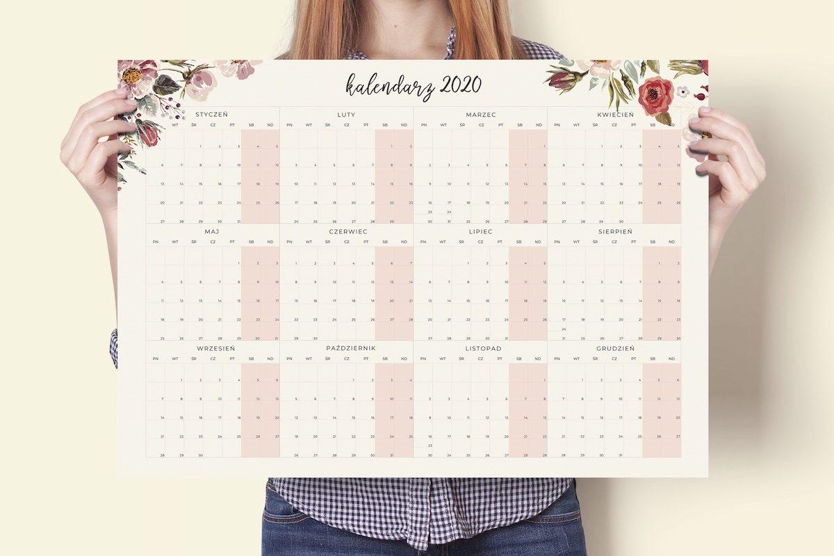 """a2 floral 2020 main 1200x800 - Planer Kalendarz Ścienny """"Akwarelowe kwiaty"""" 2019/2020 i 2020"""
