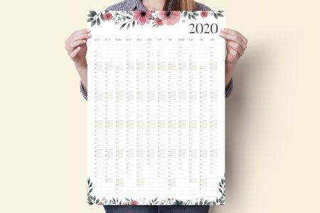 """a2 floral pl main 450x300 - Planer Kalendarz Ścienny 2020 """"Kwiaty"""""""