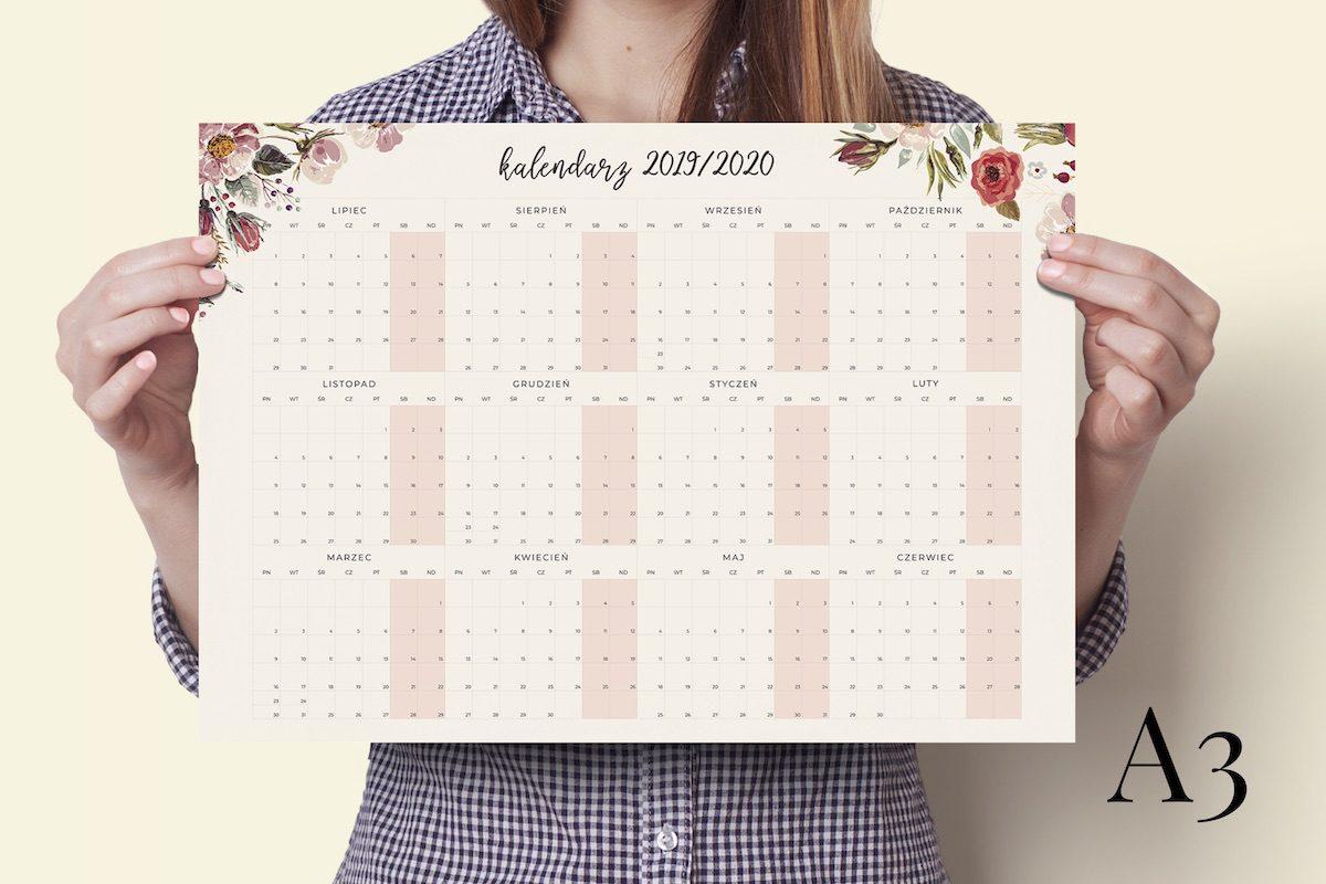 a3 floral 2019-2020 kalendarz