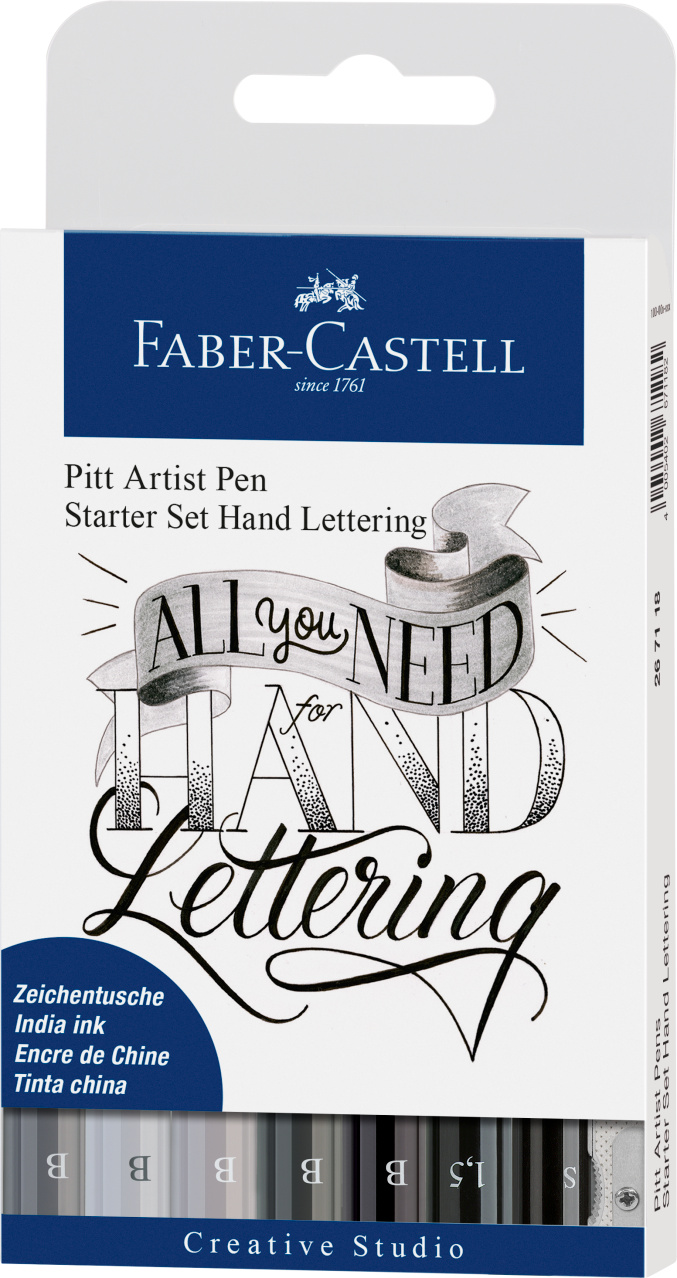 faber castell pitt artist pen set of 8 lettering start opakowanie
